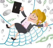 Businesswoman Buddy has a Financial Safety Net. Illustration of Businesswoman Buddy falling into the safety of her huge Financial Safety Net. Every home should Stock Image