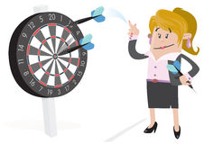 Businesswoman Buddy Hits a Bullseye. Stock Images