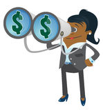 Businesswoman Buddy with Money in her Sights. Illustration of a Businesswoman Buddy with a large set of binoculars and dollar signs in her sight Stock Images