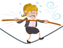 Businesswoman Buddy walks the tightrope. Illustration of Business Buddy walking the high wire whilst holding onto her pole for dear life Royalty Free Stock Images