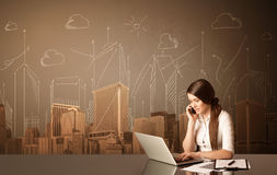 Businesswoman with buildings and measurements Royalty Free Stock Photo