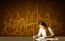 Businesswoman with buildings and numbers Stock Image