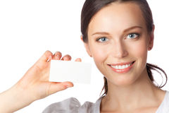 Businesswoman with business card, Royalty Free Stock Photos