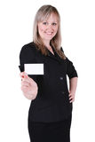 Businesswoman with a business card Royalty Free Stock Photo