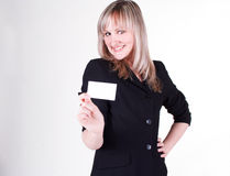 Businesswoman with business card Royalty Free Stock Photography