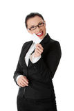 Businesswoman with business card Royalty Free Stock Photos