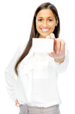 Businesswoman with business card Stock Images