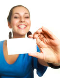 Businesswoman with a business card Royalty Free Stock Photos