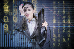 The businesswoman in business concept with chart Royalty Free Stock Photo