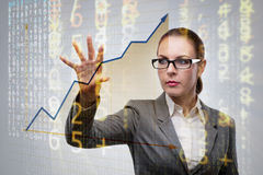 The businesswoman in business concept with chart Stock Photo