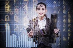 The businesswoman in business concept with chart Royalty Free Stock Images