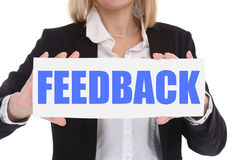 Businesswoman business concept with feedback contact customer se Stock Photos