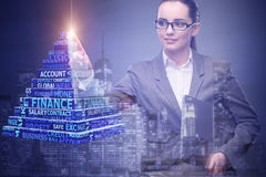 The businesswoman in business concept with finance cube Royalty Free Stock Image