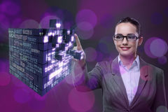 The businesswoman in business concept with finance cube Stock Image