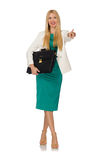 Businesswoman in business concept isolated Royalty Free Stock Photos