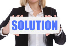 Businesswoman business concept with solution for problem success Royalty Free Stock Photo