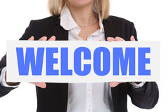 Businesswoman business concept with welcome employee staff emplo. Yees refugees customer Royalty Free Stock Photos