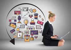 Businesswoman with business graphics drawings Stock Image