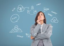 Businesswoman with Business graphics drawings Royalty Free Stock Images