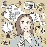 Businesswoman and business icon Royalty Free Stock Photography