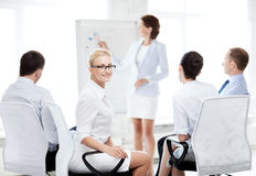 Businesswoman on business meeting in office stock photo