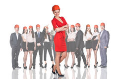 Businesswoman, business people, builders Royalty Free Stock Image