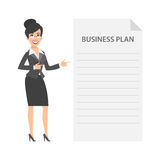Businesswoman and business plan concept Royalty Free Stock Image