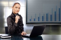 Businesswoman with business results Royalty Free Stock Images