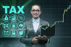 The businesswoman in business tax concept. Businesswoman in business tax concept royalty free stock image