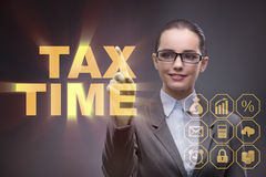 The businesswoman in business tax concept. Businesswoman in business tax concept royalty free stock images