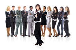 Businesswoman and business team. Portrait of successful businesswoman and business team Stock Image