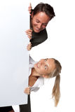 Businesswoman and businessman and blank billboard Stock Photo