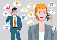 Businesswoman and Businessman on Cellphones Royalty Free Stock Photos