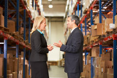 Businesswoman And Businessman In Distribution Warehouse. Talking stock photos