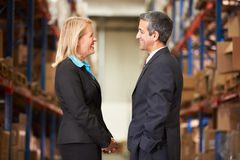 Businesswoman And Businessman In Distribution Warehouse. Talking to each other royalty free stock image