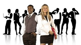 Businesswoman and businessman in front of their team stock video footage