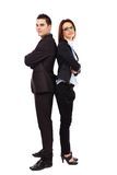 Businesswoman and businessman in full length pose Royalty Free Stock Image