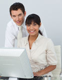 Businesswoman and businessman in the off Stock Photos