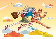 Businesswoman And Businessman Running Orange. Business Woman and businessman running  through psychedelic orange clouds Royalty Free Stock Photo