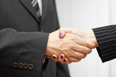 Businesswoman and businessman shakeing hands. Successful busines Stock Images