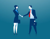 Businesswoman and businessman shaking hands. Concept business illustration. Vector flat Stock Photography