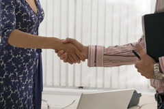 Businesswoman and businessman shaking hands in office, mid-section, close-up, profile Stock Photo