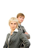 Businesswoman and businessman, standing confidentl Royalty Free Stock Image