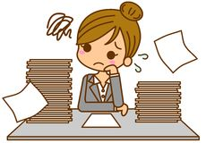 Businesswoman busy. This is an illustration of a busy business woman Royalty Free Stock Images