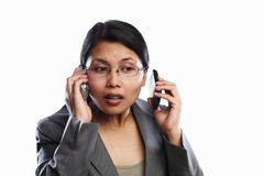 Businesswoman busy expression using video call Royalty Free Stock Photography