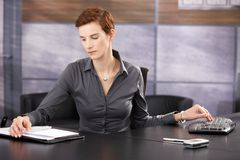 Businesswoman busy working Royalty Free Stock Photo