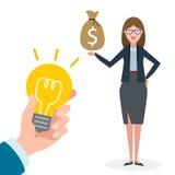 Businesswoman buy idea. Royalty Free Stock Photography