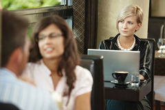 Businesswoman in cafe Royalty Free Stock Images
