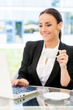 Businesswoman in cafe. Stock Photo