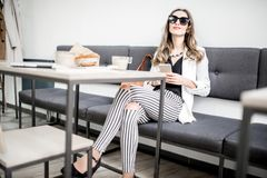 Businesswoman in the cafe royalty free stock image